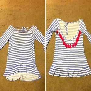 Francesca's Striped Beaded PomPom Swimsuit Coverup